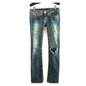 True Religion Women's distressed Boot Cut Jeans 28